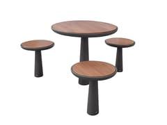 Tavolo per spazi pubblici rotondo in legno e metalloTEO | Tavolo per spazi pubblici - GHM-ECLATEC
