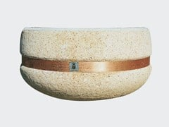 Fioriera rotonda in cemento con fascia rameTIZIANO CON FASCIA RAME - CANTIERE TRI PLOK