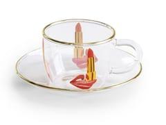 Tazza da caffè in vetro borosilicato con piattinoTONGUE | Tazza - SELETTI