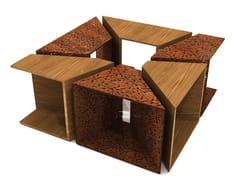 LAB23, ALCORQUE RECTANGULAR Griglia per alberi / seduta da esterni in acciaio e legno