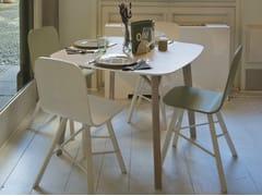 Tavolo quadrato in legno impiallacciato TRIA | Tavolo quadrato - Tria