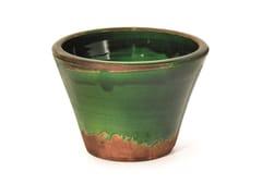 Vaso da giardino basso fatto a mano in terracottaTRONCO CONICO VERDE - PAOLELLI GARDEN