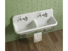 Lavabo doppio sospeso con porta asciugamaniTRUECOLORS | Lavabo in ceramica - BLEU PROVENCE