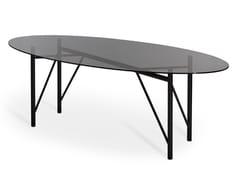 Tavolo ovale in cristallo e metallo verniciatoTUBOLAR | Tavolo ovale - MENTEMANO