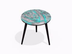 Tavolino rotondo in HPL e faggio TURGOT PONT NEUF M CYAN | Tavolino rotondo - Paris - Paris