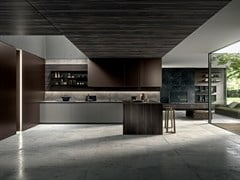Cucina con penisola in metallo e gresTWENTY - MODULNOVA