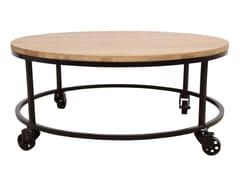 Tavolino ovale in quercia e metallo con ruoteUILI | Tavolino ovale - ALANKARAM