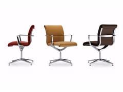Sedia ufficio operativa in pelle a 4 razze UNA CHAIR MANAGMENT | Sedia ufficio operativa in pelle - Una Chair