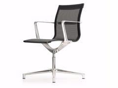 Sedia ufficio operativa girevole in rete a 4 razze con braccioli UNA CHAIR MANAGMENT | Sedia ufficio operativa in rete - Una Chair