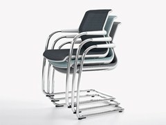 Sedia da conferenza impilabile con braccioli UNIX CHAIR | Sedia a slitta -