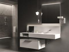 Mobile lavabo sospeso in laminato con specchio NEROLAB | Mobile lavabo - Nerolab