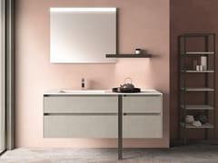 Mobile lavabo singolo sospeso in nobilitato con cassetti SEGNO | Mobile lavabo - Segno