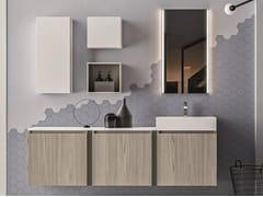 Mobile lavabo sospeso in nobilitato con armadio SEGNO | Mobile lavabo con armadio - Segno