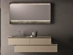 Mobile lavabo sospeso in nobilitato con specchio SEGNO | Mobile lavabo con specchio - Segno