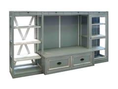 Mobile TV componibile in legno massello con ante a battente con libreriaVASCO DE GAMA - FABER MOBILI