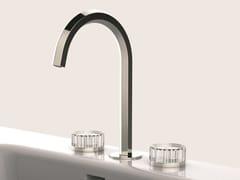 Gruppo lavabo a 3 fori con maniglie in cristallo molato VENEZIA | Rubinetto per lavabo a 3 fori - Venezia