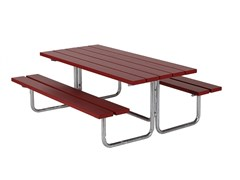 Tavolo per spazi pubblici rettangolare in legno con panchine integrateVENUS MINI - EUROFORM K. WINKLER