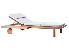 Lettino da giardino reclinabile in teak con ruote VIS À VIS | Lettino da giardino con ruote - Vis à vis