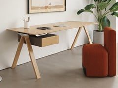 Scrivania rettangolare in legno impiallacciato con cassettiVIS HOME OFFICE   Scrivania con cassetti - BK CONTRACT EQUIPMENT