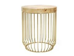 Tavolino alto con struttura in metallo e piano in legnoBRADLEY | Tavolino alto - ANA ROQUE INTERIORS