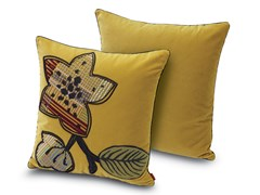 Cuscino in velluto con ricamo floreale piazzato WAILUA | Cuscino con motivi floreali - Stripes Mosaic