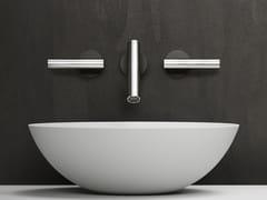 Rubinetto per lavabo a 3 fori a muro in acciaio inox CILINDRO | Rubinetto per lavabo a muro - Cilindro