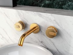 Rubinetto per lavabo a 3 fori a muro con rosette separate MOD+ | Rubinetto per lavabo a muro - MOD+