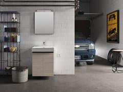 Mobile lavanderia sospeso in melamina con specchioWASH - COMPOSIZIONE 1 - ALPEMADRE