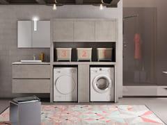 Mobile lavanderia in melamina con lavatoio per lavatriceWASH - COMPOSIZIONE 12 - ALPEMADRE