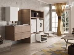 Mobile lavanderia in melamina con cassetti per lavatriceWASH - COMPOSIZIONE 6 - ALPEMADRE