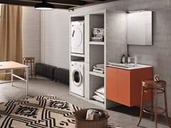 Mobile lavanderia in melamina con lavatoio per lavatriceWASH - COMPOSIZIONE 7 - ALPEMADRE