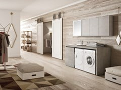 Mobile lavanderia in melamina con lavatoio per lavatriceWASH - COMPOSIZIONE 9 - ALPEMADRE