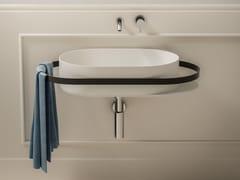 Lavabo ovale sospeso in Solid Surface con porta asciugamaniONEWEEK | Lavabo - BLUBLEU