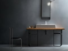 Piano lavabo singolo in legno massello EDEN | Piano lavabo in legno massello - Eden