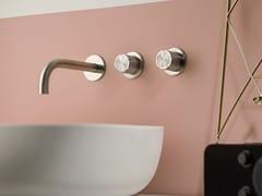 Rubinetto per lavabo a 3 fori a muro in acciaio inox SYNTH | Rubinetto per lavabo a muro - SYNTH