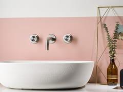 Rubinetto per lavabo a 3 fori a muro in acciaio inox SYNTH | Rubinetto per lavabo - SYNTH