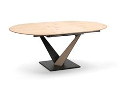 Tavolo allungabile da pranzo ovale in acciaio e legnoWEST | Tavolo ovale - ALTA CORTE