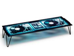 Tavolino rettangolare in acciaio e cristalloXRAYDIO | Tavolino - MOROSO