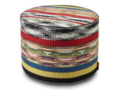 Pouf cilindro in tessuto jacquard multicoloreYAREN | Pouf - MHOME