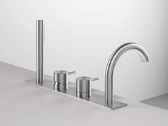 Set vasca a 4 fori in acciaio inox con doccetta Z316 | Set vasca a 4 fori - Z316
