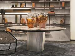 Tavolo rotondo con base in metallo e top in pietraZENITH - H-07