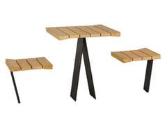 Tavolo per spazi pubblici quadrato in legno con sedie integrateZETAPICNIC | Tavolo per spazi pubblici quadrato - EUROFORM K. WINKLER