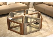 Triangular wood and glass coffee table CT-192 | Coffee table by Adwin