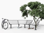 Modular powder coated steel bench seating with back KORG by Nola Industrier