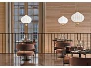Lampada a sospensione in vetro e ottone LILLI by KUNDALINI