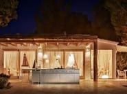 Cucina componibile in acciaio inox e legno con isola MONOLIT 45° HAND BRUSHED by Xera by Arex