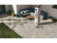 Porcelain stoneware outdoor floor tiles with stone effect EXTERNA QUARZITE GOLD GREY by EmilCeramica