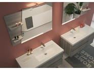 Wall-mounted vanity unit with doors with drawers LINE 04 by LEGNOBAGNO