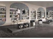 Porcelain stoneware wall/floor tiles terrazzo effect MEDLEY DARK GREY by Ergon