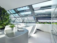 HI-MACS® Kitchen area for Loft 1010 – Vienna, Austria - Architects: Project A01 Architects, ZT GmbH –  Matrerial: HI-MACS® Alpine White – Photo Credits ©Nadine Blanchard